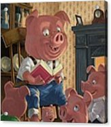 Story Telling Pig With Family Acrylic Print by Martin Davey