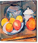 Straw Covered Vase Sugar Bowl And Apples Acrylic Print by Paul Cezanne