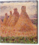 Straw Stacks Acrylic Print by Georges Pierre Seurat