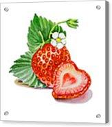 Strawberry Heart Acrylic Print by Irina Sztukowski