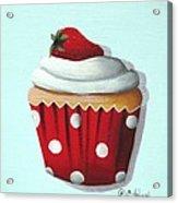 Strawberry Shortcake Cupcake Acrylic Print by Catherine Holman