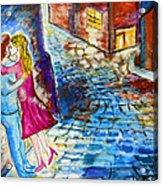 Street Kiss By Night  Acrylic Print by Ramona Matei