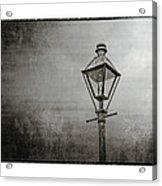 Street Lamp On The River In Black And White Acrylic Print by Brenda Bryant