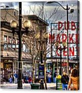 Strolling Towards The Market - Seattle Washington Acrylic Print by David Patterson