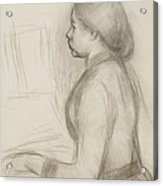 Study Of A Young Girl At The Piano Acrylic Print by Pierre Auguste Renoir