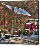 Sudbury Wintery Grist Mill Acrylic Print by Mark Valentine