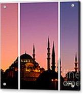 Suleymaniye Sundown Triptych 01 Acrylic Print by Rick Piper Photography