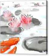 Sumie No.11 Koi Fish And Lotus Flowers Acrylic Print by Sumiyo Toribe