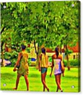 Summertime Walk Through The Beautiful Tree Lined Park Montreal Street Scene Art By Carole Spandau Acrylic Print by Carole Spandau