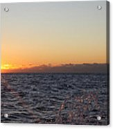 Sun Rising Through Clouds In Rough Waters Acrylic Print by John Telfer
