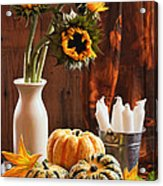 Sunflower And Gourds Still Life Acrylic Print by Amanda Elwell