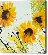 Sunflowers - Abstract Painting Acrylic Print by Ismeta Gruenwald