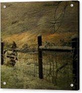 Sunrise Behind The Fence Acrylic Print by Kathy Jennings