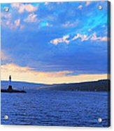 Sunrise On Cayuga Lake Ithaca New York Panoramic Photography Acrylic Print by Paul Ge