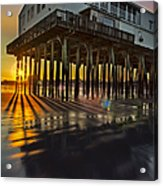 Sunset At The Pier Acrylic Print by Susan Candelario