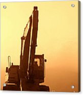 Sunset Excavator Acrylic Print by Olivier Le Queinec