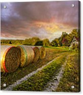 Sunset Farm Acrylic Print by Debra and Dave Vanderlaan