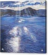 Sunset Near Myrtos Beach Kefalonia Acrylic Print by Robina Osbourne
