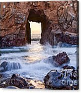 Sunset On Arch Rock In Pfeiffer Beach Big Sur California. Acrylic Print by Jamie Pham