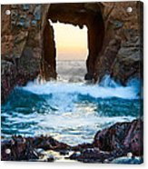Sunset On Arch Rock In Pfeiffer Beach Big Sur. Acrylic Print by Jamie Pham