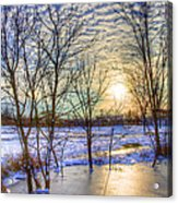 Sunset Over Ice Acrylic Print by William Wetmore