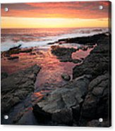 Sunset Over Rocky Coastline Acrylic Print by Johan Swanepoel