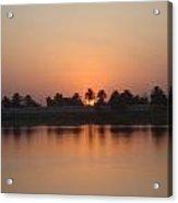 Sunset Palms Over Lake Acrylic Print by Sharla Fossen