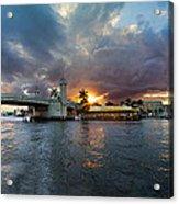 Sunset Waterway Panorama Acrylic Print by Debra and Dave Vanderlaan