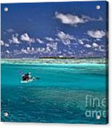 Surf Board Paddling In Moorea Acrylic Print by David Smith
