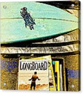 Surfboards And Magazines Acrylic Print by Ron Regalado