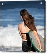 Surfer Girl Acrylic Print by Michelle Wiarda