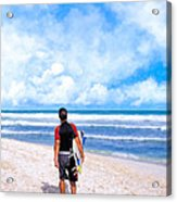 Surfer Hunting For Waves At Playa Del Carmen Acrylic Print by Mark E Tisdale