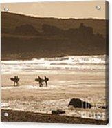 Surfers On Beach 02 Acrylic Print by Pixel Chimp