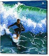 Surfin' Huntington Beach Pier Acrylic Print by Alice Leggett