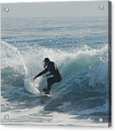 Surfing In The Sun Acrylic Print by Donna Blackhall
