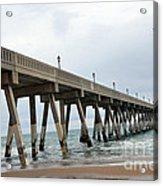Surreal Blue Sky Ocean Coastal Fishing Pier Seagull North Carolina Atlantic Ocean Acrylic Print by Kathy Fornal