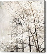 Surreal Dreamy Winter White Church Trees Acrylic Print by Kathy Fornal