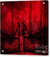 Surreal Fantasy Gothic Red Forest Crow On Gate Acrylic Print by Kathy Fornal