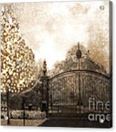 Surreal Fantasy Haunting Gate With Sparkling Tree Acrylic Print by Kathy Fornal