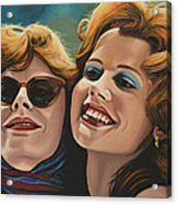 Susan Sarandon And Geena Davies Alias Thelma And Louise Acrylic Print by Paul Meijering