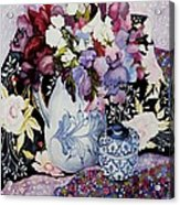 Sweet Peas In A Blue And White Jug With Blue And White Pot And Textiles  Acrylic Print by Joan Thewsey