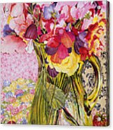 Sweet Peas With Cherries And Strawberries Acrylic Print by Joan Thewsey