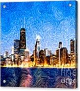 Swirly Chicago At Night Acrylic Print by Paul Velgos
