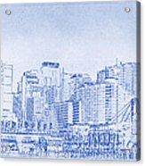 Sydney's Cockle Bay Blueprint Acrylic Print by Kaleidoscopik Photography