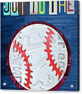 Take Me Out To The Ballgame License Plate Art Lettering Vintage Recycled Sign Acrylic Print by Design Turnpike