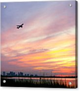 Take Off At Sunset In 1984 Acrylic Print by Michelle Wiarda