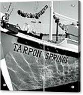 Tarpon Springs Spongeboat Black And White Acrylic Print by Benjamin Yeager
