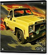 Taxicab Repair 1974 Gmc Acrylic Print by Blake Richards