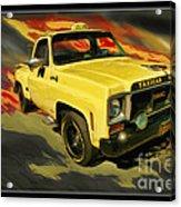 Taxicab Repair 1974 Gmc Acrylic Print by Blake Richards