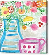 Tea And Fresh Flowers- Whimsical Floral Painting Acrylic Print by Linda Woods